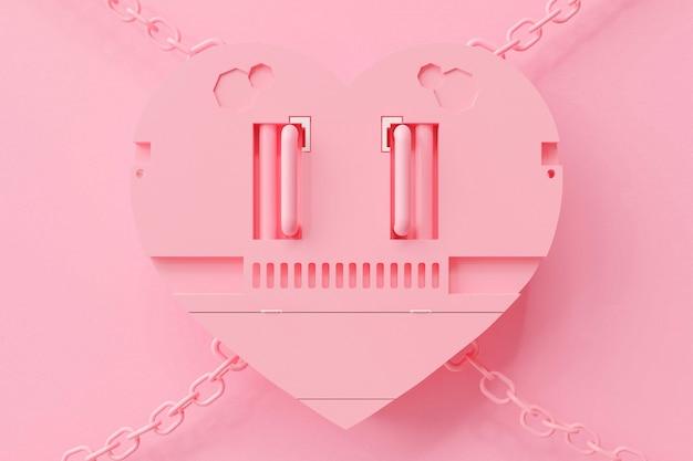 Roze hartvormig met kettingen