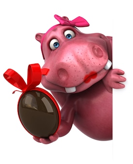 Roze hippo - 3d illustratie