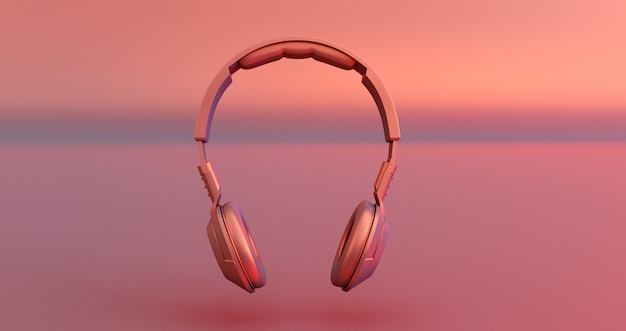 Roze hoofdtelefoon op roze achtergrond. 3d render