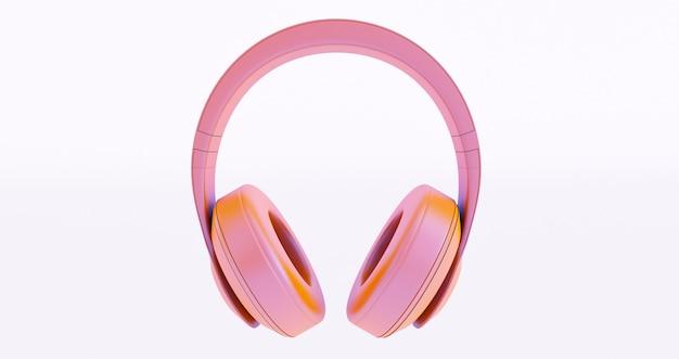 Roze hoofdtelefoon op witte achtergrond. 3d render