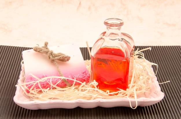 Roze hygiëneproducten ingesteld
