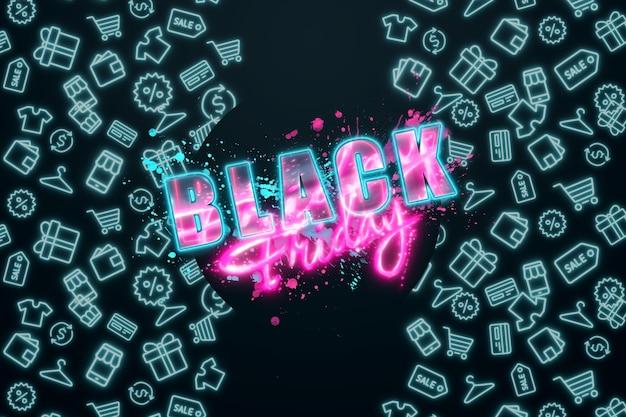 Roze inscriptie black friday op een zwarte achtergrond. uitverkoop flyer, tijdschrift stijl modern design kortingen prijs drop poster. 3d illustratie 3d render kopie ruimte.