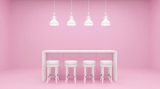 Roze keuken ingebouwd meubilair