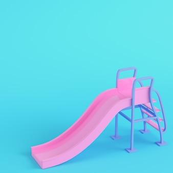 Roze kinderen glijden op een felblauwe achtergrond in pastelkleuren. minimalisme concept. 3d render