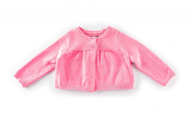 Roze kinderensweater die op een witte achtergrond wordt geïsoleerd