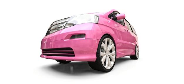 Roze kleine minibus voor het vervoer van mensen. driedimensionale afbeelding op een glanzend witte achtergrond. 3d-rendering.