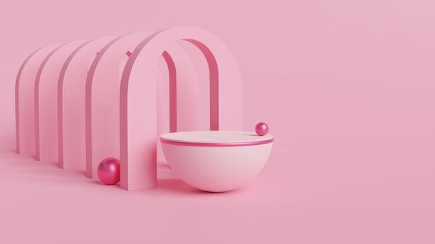Roze kom, bol en bogen