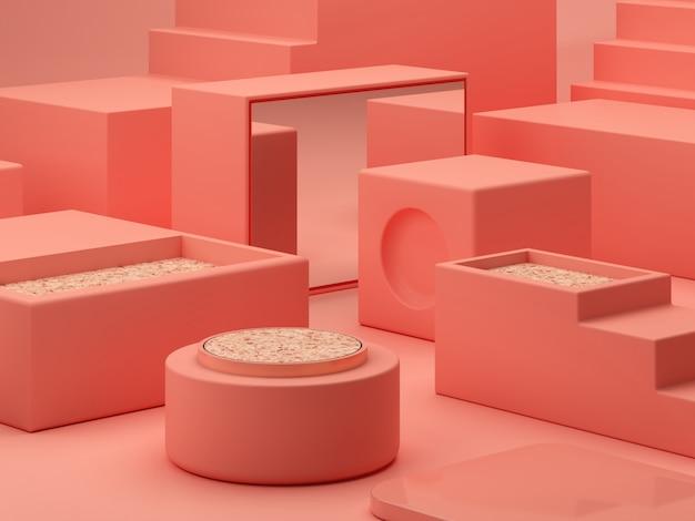 Roze koraalvormen, minimale dozen en geometrisch podium. scène met geometrische vormen.