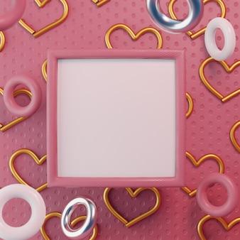 Roze kunstlijst vierkant moederliefde met kleurringen zweeft
