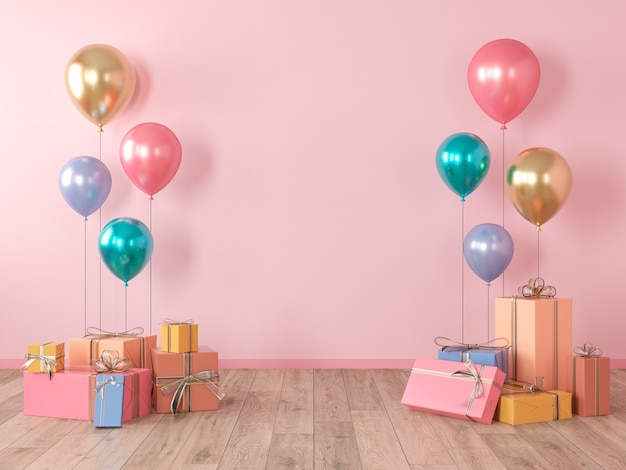 Roze lege muur, kleurrijk interieur met geschenken, cadeautjes, ballonnen voor feest, verjaardag, evenementen. 3d render illustratie, mockup.