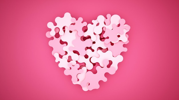 Roze legpuzzels worden gecombineerd om harten te vormen