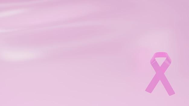 Roze lint symbool van borstkanker bewustzijn maand op de hoek van op abstracte roze achtergrond 3d