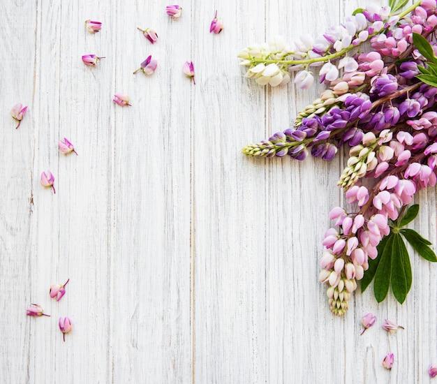 Roze lupine bloemen bovenaanzicht achtergrond