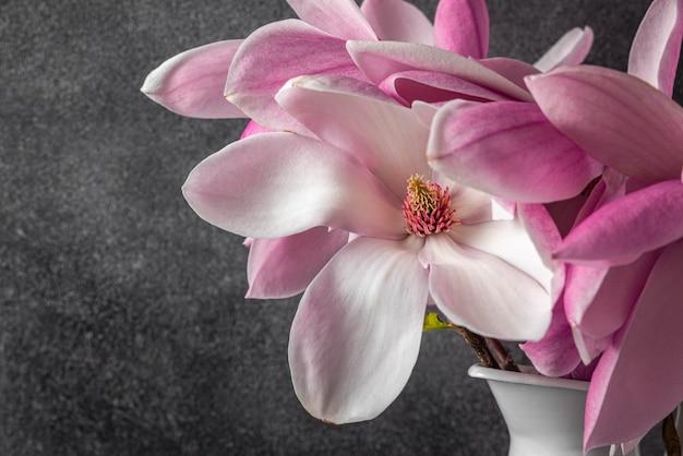 Roze magnolia bloemen op zwart oppervlak