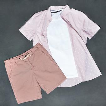 Roze man t-shirt en korte broek