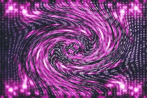 Roze matrix digitaal. vervormde cyberspace. tekens vallen in wormgat. gehackte matrix. virtual reality-ontwerp. complexe hacking van algoritmegegevens. roze digitale vonken.