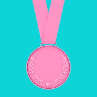 Roze medaille met lauwerkrans in duotoonstijl op een blauwe achtergrond. 3d-rendering