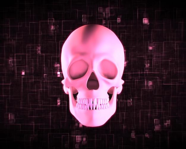 Roze menselijke schedel