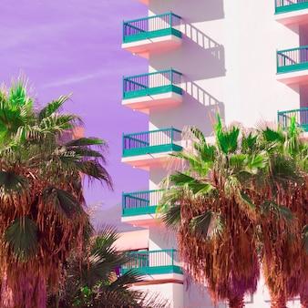 Roze minimale mode. palm tropen locatie. kunst ontwerp