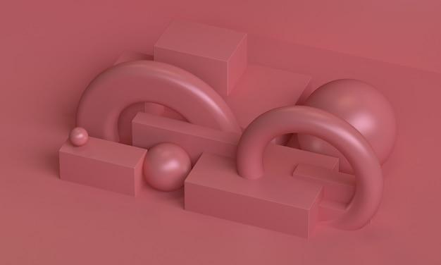 Roze minimalistische primitieve geometrische abstracte achtergrond, stijlvolle trendy illustratie podium, standaard, vitrine op pastelkleur voor premium product. 3d render.