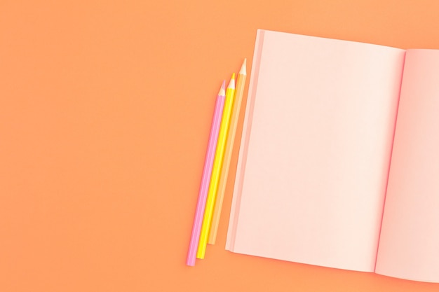 Roze notitieboekje met kleurpotloden