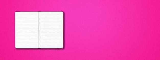 Roze open bekleed notebook mockup mockup geïsoleerd op kleurrijke achtergrond. horizontale banner