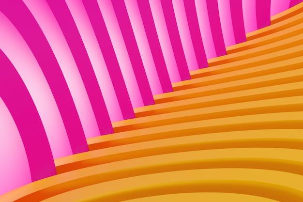 Roze-oranje hoek gemaakt van geometrische eenvoudige lijnen. helder creatief symmetrisch patroon, textuur. herhaalbare minimalistische wall.3d-weergave.