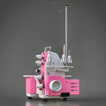 Roze overlock op een grijze achtergrond. apparatuur voor naaiproductie. kleding en textiel naaien. 3d-afbeelding.