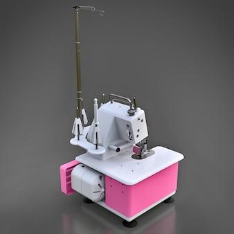 Roze overlock op een grijze ondergrond
