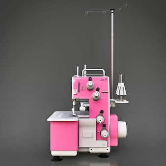 Roze overlock op grijs. apparatuur voor het naaien van productie. naaien van kleding en textiel. 3d illustratie