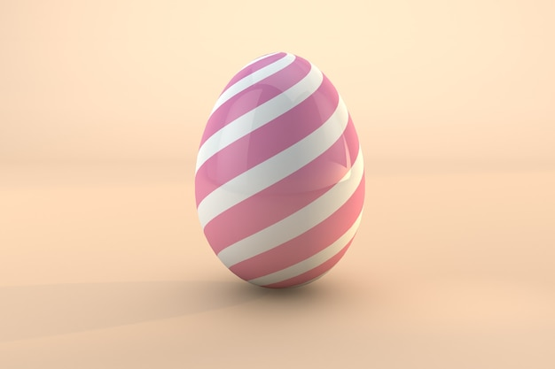 Roze paasei patroon geïsoleerd op pastel achtergrond. 3d render een bestand psd transparante achtergrond