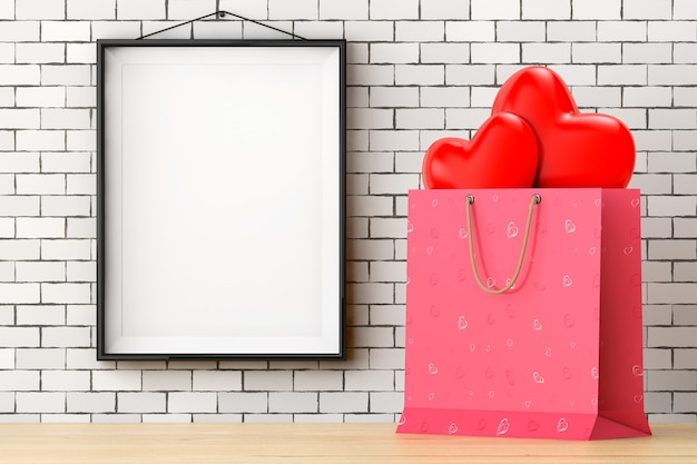 Roze papieren boodschappentas met rode harten voor bakstenen muur met lege frame extreme close-up. 3d-rendering