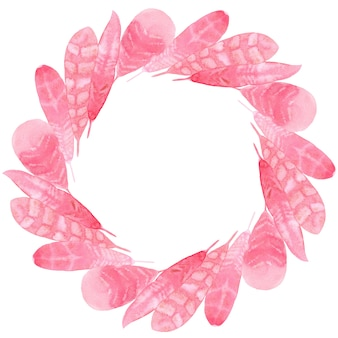 Roze papieren veren aquarel print voor stof