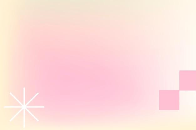 Roze pastel gradiëntachtergrond in abstracte memphis-stijl met retro rand