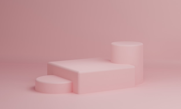 Roze pastel rechthoek kubus en cilinder product showcase tafel op achtergrond