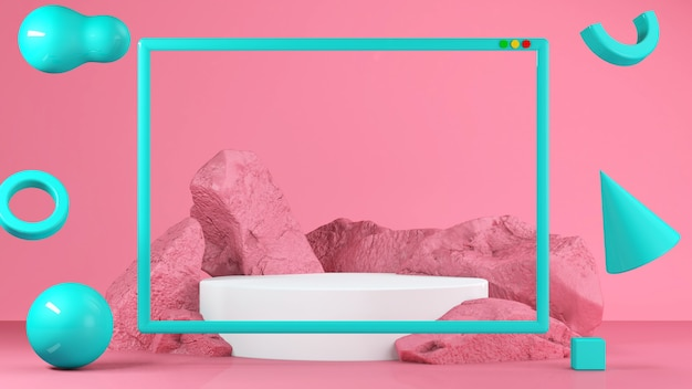 Roze pastelkleurvoedselkraam op de achtergrond. abstract concept van minimale geometrie