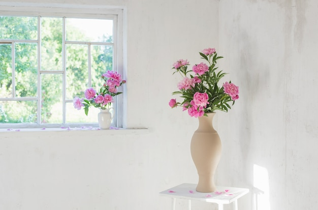 Roze pioen in vaas op grunge wit interieur