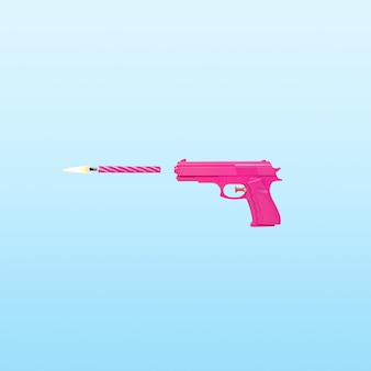 Roze pistool met verjaardagskaars op blauwe pastelachtergrond