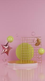 Roze podium met goud en glass