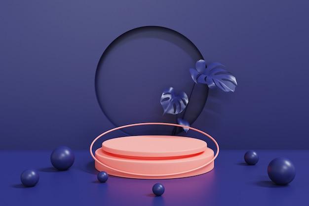 Roze podium op blauw, abstract geometrisch cilinderpodium