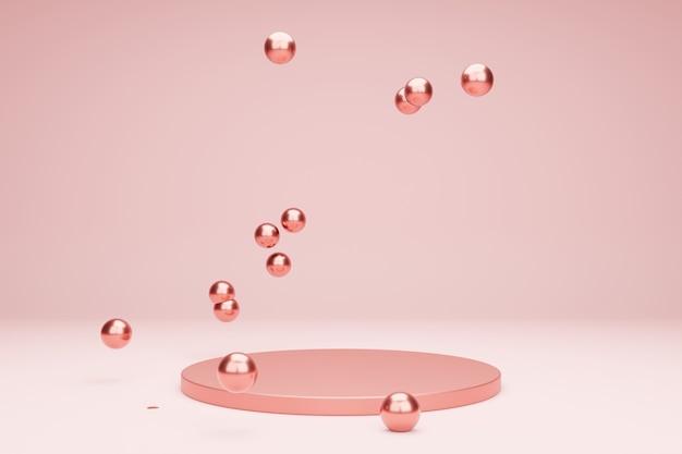 Roze podium voor productpresentatie met metalen bubbels 3d-renderingscène in rustige pastelkleuren