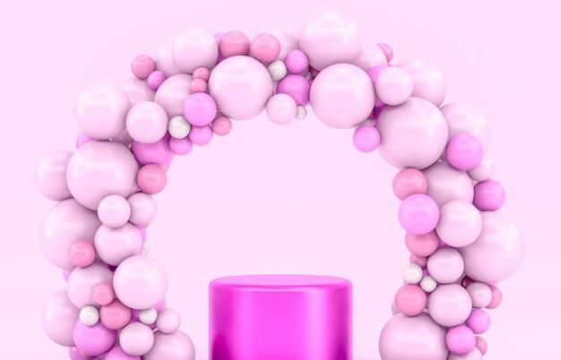Roze podiumdecor voor productvertoning met ballonnen arch.
