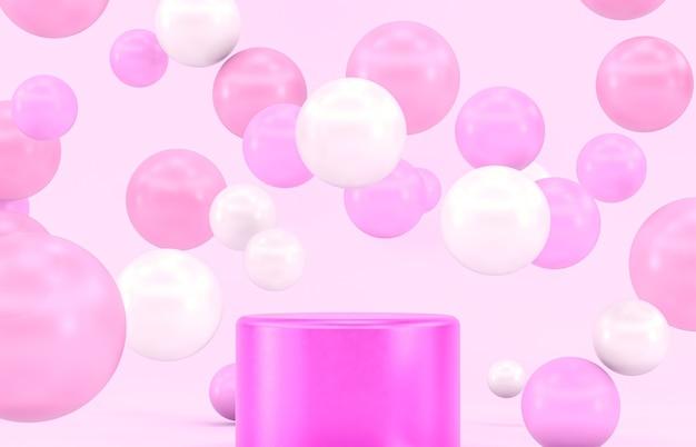 Roze podiumdecor voor productvertoning met ballonnen.
