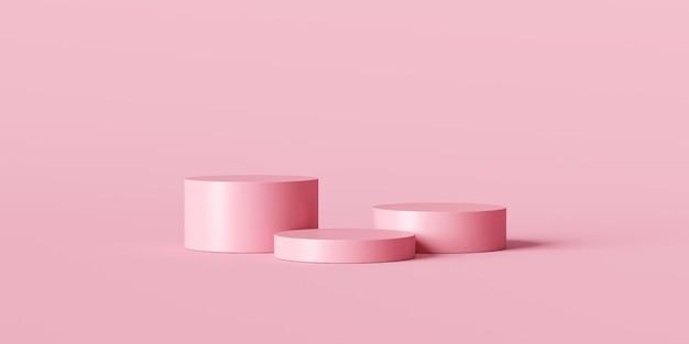 Roze productachtergrondstandaard of podiumvoetstuk op leeg display met pastelkleurige achtergronden.