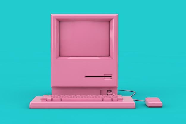 Roze retro personal computer. de systeemeenheid, monitor, toetsenbord en muis mock-up duotone op een blauwe achtergrond. 3d-rendering
