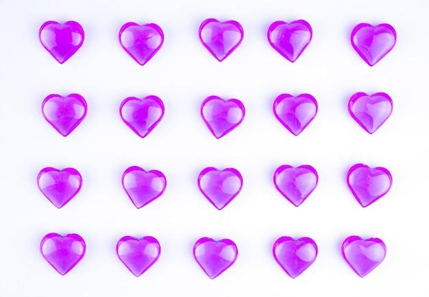 Roze, rode harten op een witte achtergrond. valentijnsdag.