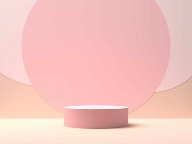 Roze rond podium op roze achtergrond met cirkelvormen in het midden. achtergrond voor productvertoning. 3d-weergave