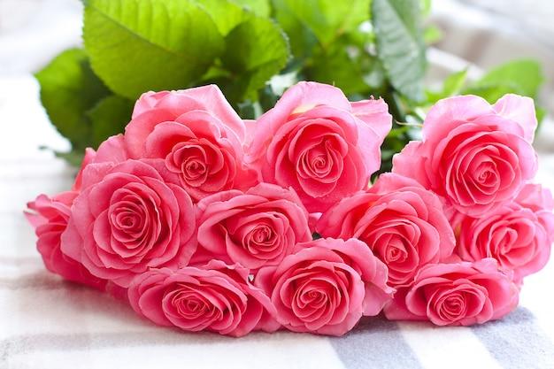 Roze roos met waterdruppels op een witte achtergrond