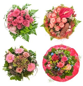 Roze rozen bloemen boeket geïsoleerd op een witte achtergrond. feestelijk arrangement