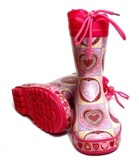 Roze rubberen knie-laarzen voor meisjes